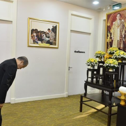 Secretary-General of the Chaipattana Foundation together with his officers as well as those of ORDPB made a merit-making ceremony to mark the 1st anniversary of the decease of His Majesty the late King Bhumibol Adulyadej, Rama IX