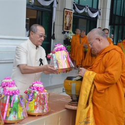The Chaipattana Foundation together with the Office of Royal Development Project Board has organized merit-making ceremonies to commemorate His Majesty the King Maha Vajiralongkorn Bodindradebayavarangkun on the occasion of the 65th Birthday Anniversary